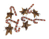 "Birch Maison Decorative Primitive / Farmhouse Wooden Candy Cane and Star Garland - 41"" Long"