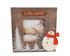 "Birch Maison Decorative Primitive / Farmhouse Wooden Photo Frame ""Welcome"" with Trees and Snowman - 7.25"" Tall"