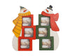 "Birch Maison Decorative Primitive / Farmhouse 2 Wooden Snowmen Photo Frames with 3 Slots Each, Standing  - 12.5"" Tall"