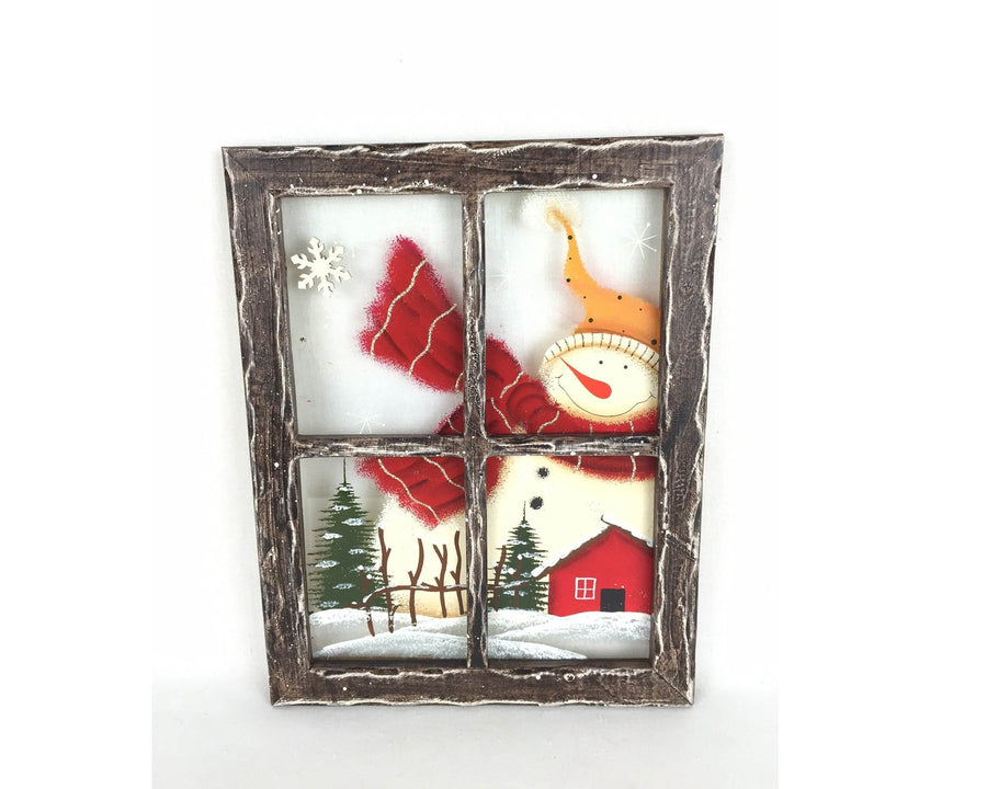"Birch Maison Decorative Primitive / Farmhouse Square Wooden Glass Window Frame ""Snowman"", Hanging - 11.5"" Tall"