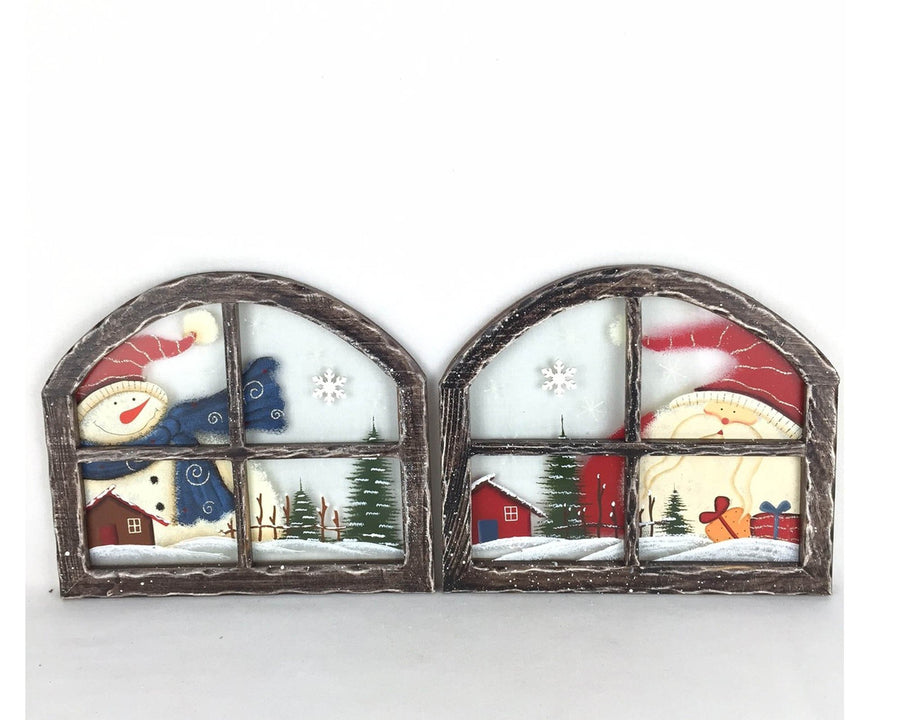 "Birch Maison Decorative Primitive / Farmhouse Rounded Wooden Glass Window Frames ""Santa & Snowman"", Set of 2 - 10"" Tall"