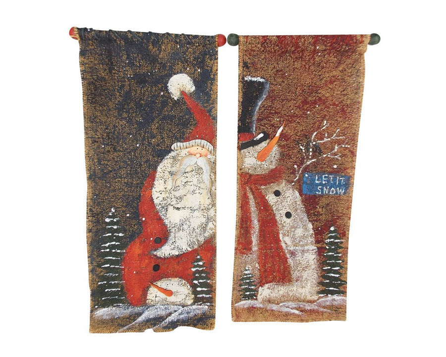 "Birch Maison Decorative Primitive / Farmhouse Burlap Pennants Santa & Snowman, Assorted, Set of 2 - 20.25"" Tall"