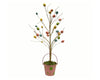 "Birch Maison Decorative Primitive / Farmhouse Tin Flower Tree with Eggs in Tin Pot with Handle - 18"" Tall"