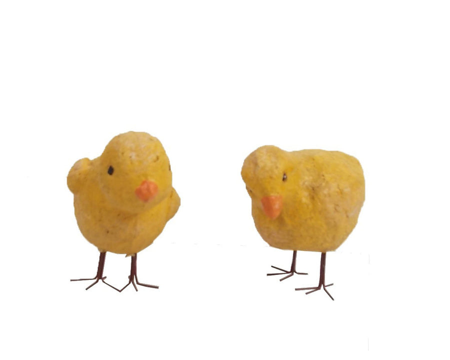 "Birch Maison Decorative Primitive / Farmhouse Paper Mache Little Chicken, Set of 2 - 3"" Tall"