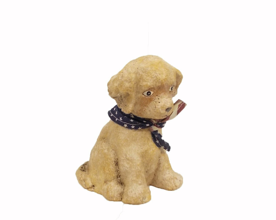 "Birch Maison Decorative Primitive / Farmhouse Paper Mache Puppy with US Flag Scarf - 5.5"" Tall"