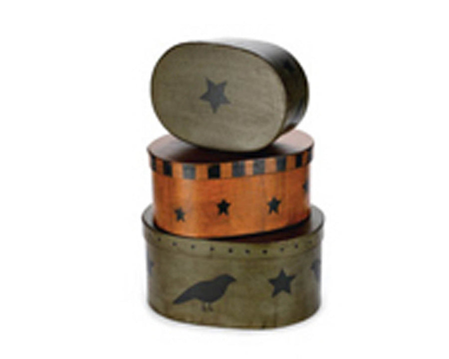 "Oval Nesting Boxes with Crow & Star, Green / Orange, Stackable, Set of 3 - 10"" x 5"" x 5"", 9"" x 4"" x 4"",  8"" x 3"" x 3"""