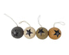 "Birch Maison Decorative Primitive / Farmhouse Paper Mache Spheres with Star Motif, Assorted, Set of 6 - 2.5"" Dia"