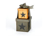 "Primitive Square Nesting Boxes with Star, Set of 2 - 3"" Dia and 4"" Dia"