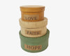 "Birch Maison Decorative Primitive / Farmhouse Round Nesting Boxes ""Love - Faith - Hope"", Set of 3 - 5.5"" x 5.5"" x 7.5"""