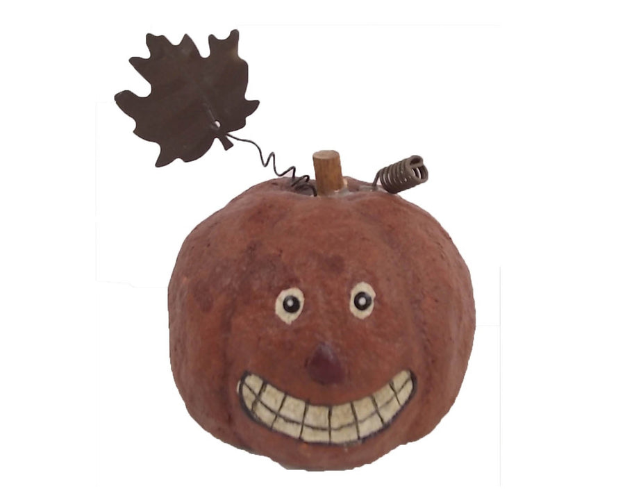 "Birch Maison Decorative Primitive / Farmhouse Paper Mache Jack-O-Lantern with Tin Leaves, Halloween Ornament   - 4"" Tall"