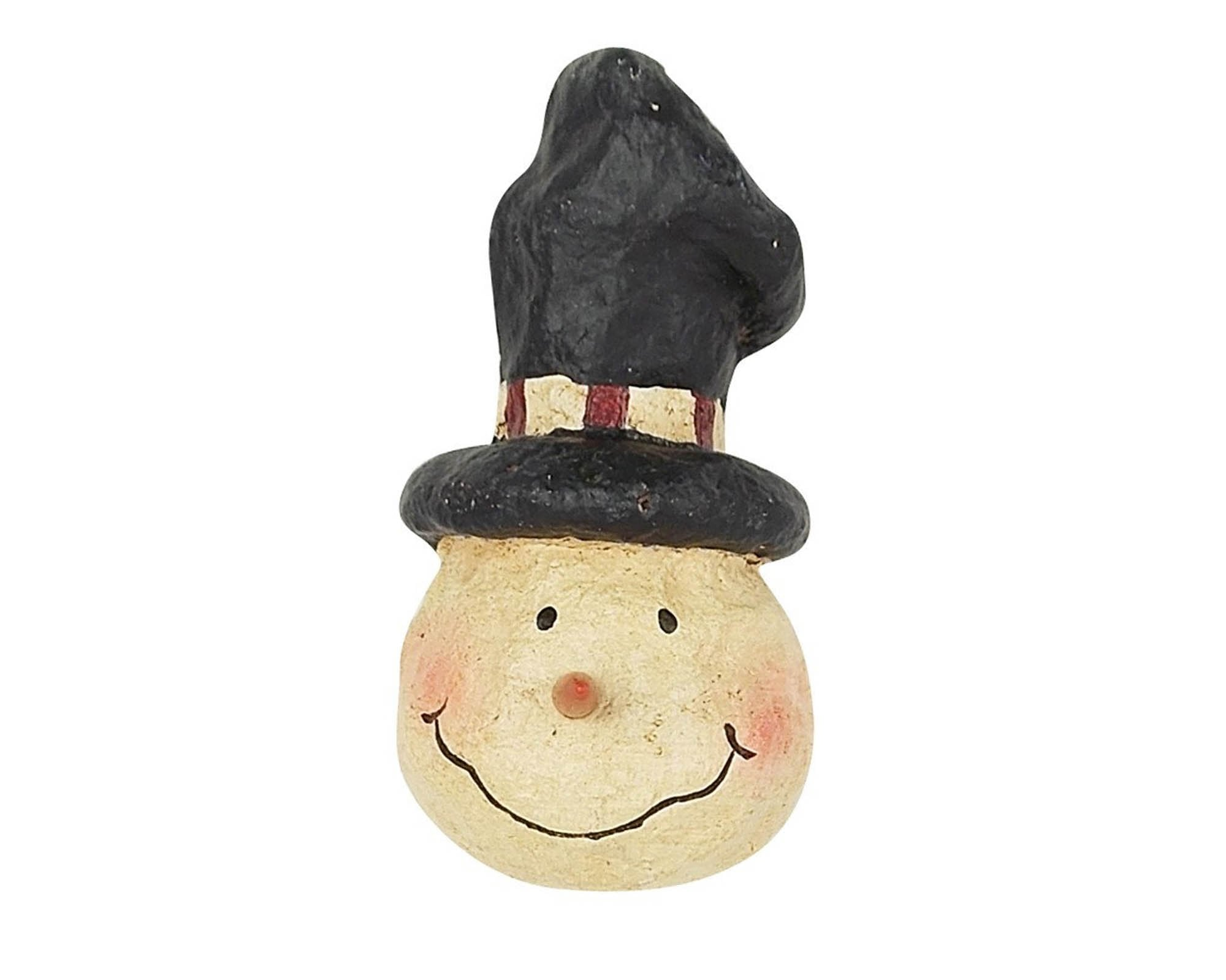 Paper Mache Snowman Head With Black Hat Christmas Ornament 5 Tall