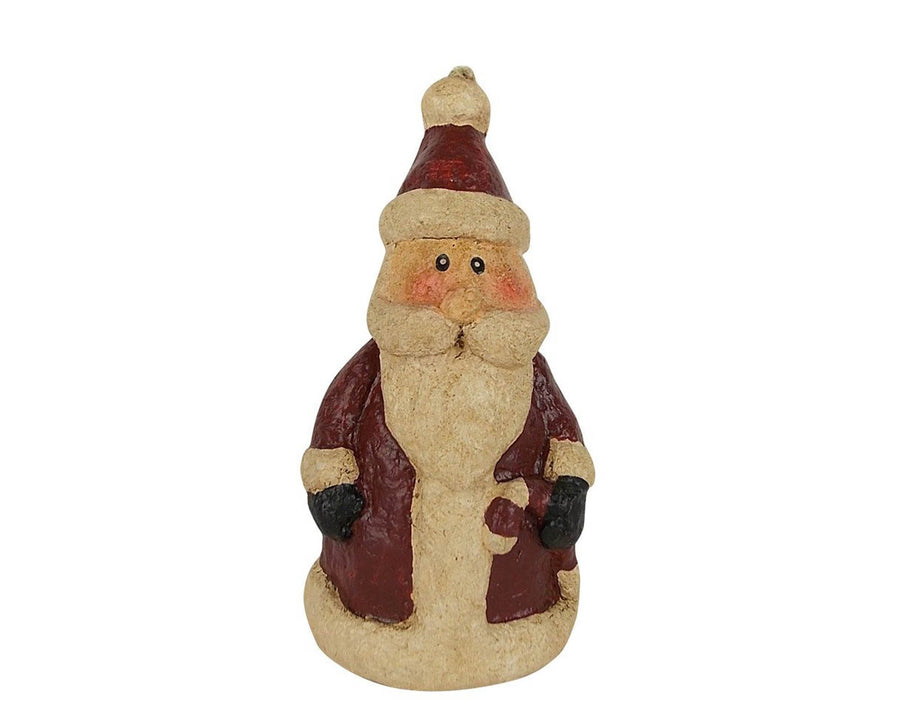 "Birch Maison Decorative Primitive / Farmhouse Antique Look, Paper Mache Santa, Christmas Ornament - 5"" Tall"
