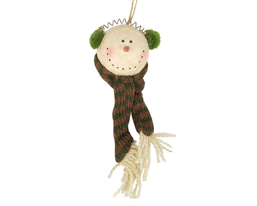 "Birch Maison Decorative Primitive / Farmhouse  Paper Mache Snowman Head with Knit Ear Muffs and Long Knit Scarf, Christmas Ornament - 3.5"" Tall"