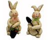 "Birch Maison Decorative Primitive / Farmhouse Paper Mache Bunnies, Sitting, Assorted, Set of 2 - 5.5"" Tall"