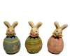 "Birch Maison Decorative Primitive / Farmhouse Paper Mache Spring Bunnies, Set of 3 - 4.75"" Tall"