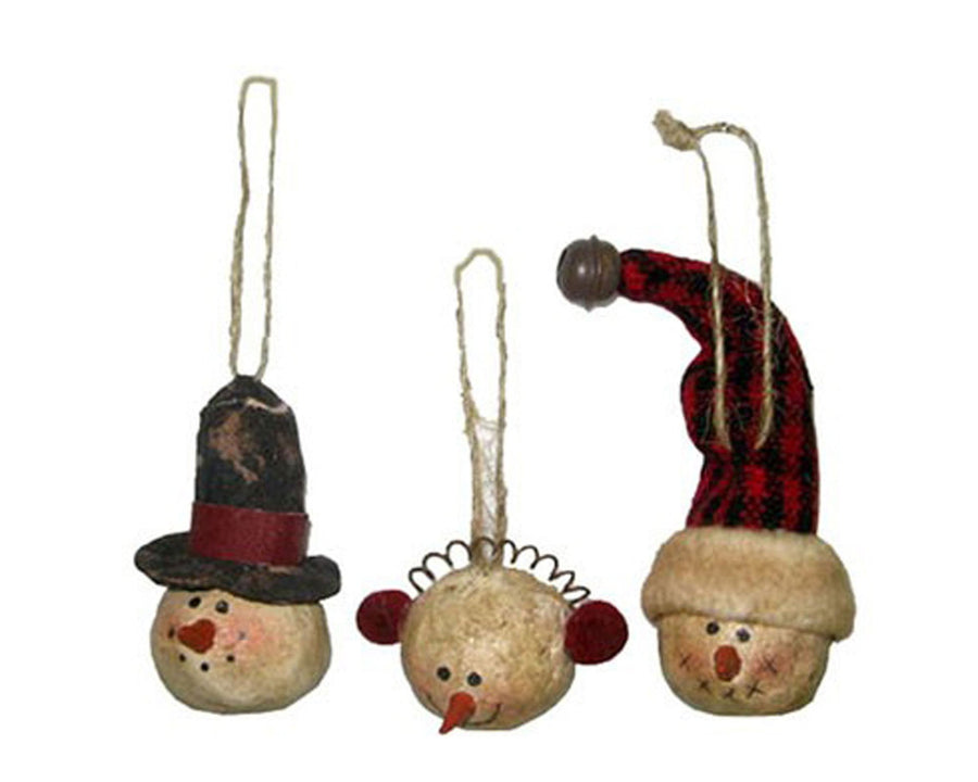 Birch Maison Decorative Primitive / Farmhouse Paper Mache Snowman Heads with Hats & Ear-Muffs, Christmas Ornaments, Assorted, Set of 3