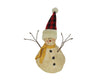 "Birch Maison Decorative Primitive / Farmhouse Paper Mache Snowman with Scarf, Standing, Off-White - 4.5"" Tall"