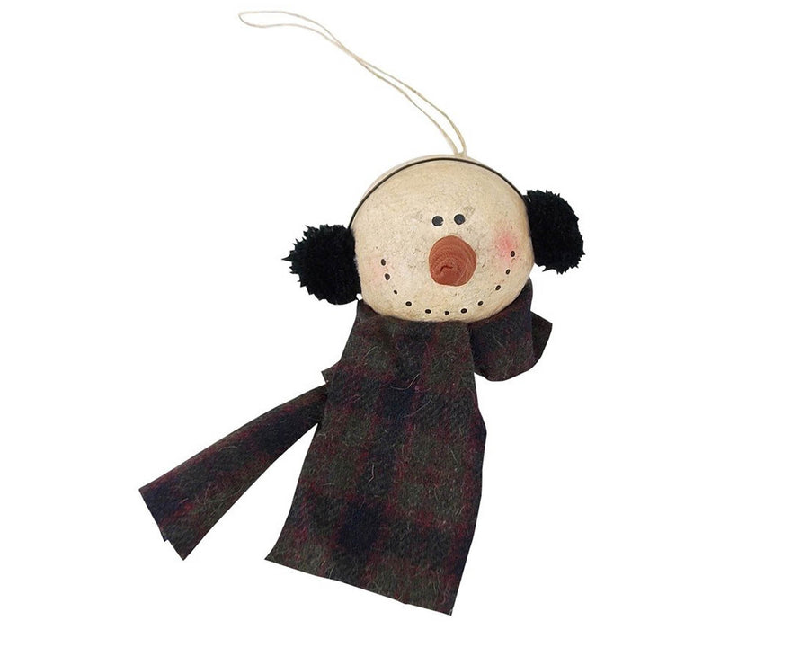 "Birch Maison Decorative Primitive / Farmhouse Paper Mache Snowman Head with Ear Muffs & Scarf, Christmas Ornament- 4.5"" Tall"