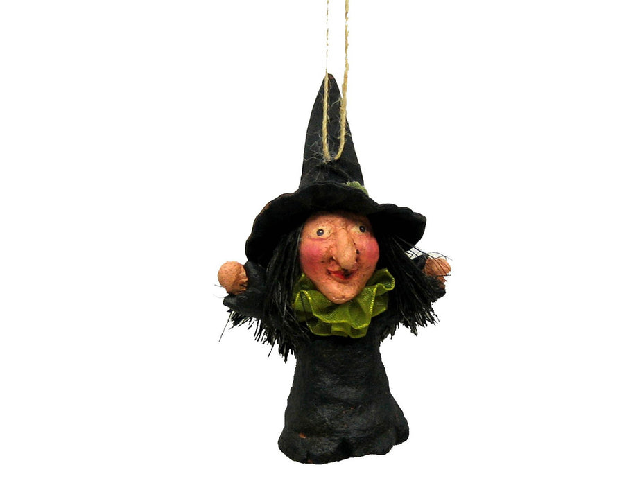 "Birch Maison Decorative Primitive / Farmhouse Paper Mache Fabric Witch, Hanging, Black-Green - 4.5"" Tall"
