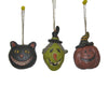 "Birch Maison Decorative Primitive / Farmhouse Paper Mache Halloween Ornaments ""Witch - Cat - Pumpkin"", Set of 3 - 2"" Tall"