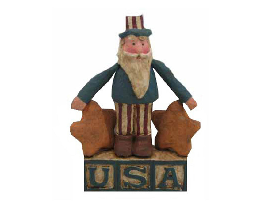 "Birch Maison Decorative Primitive / Farmhouse Paper Mache ""Uncle Sam"" On ""USA"" Blocks with Stars, Standing - 5.5"" Tall"