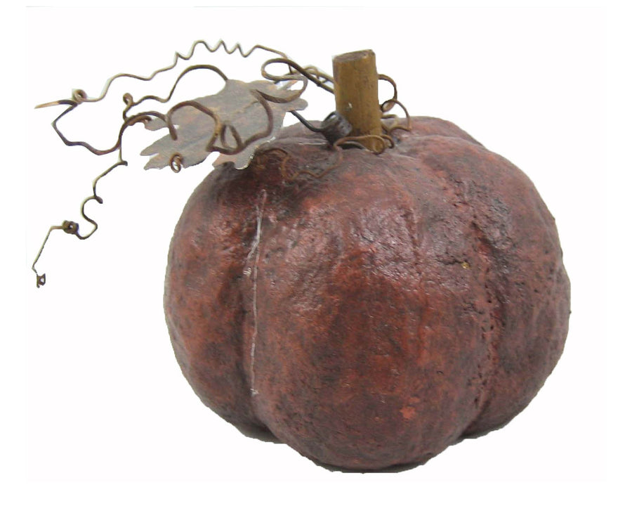 "Birch Maison Decorative Primitive / Farmhouse Paper Mache Pumpkin with Tin Leaves And Strands - 3.25"" Tall"