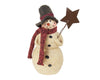 "Birch Maison Decorative Primitive / Farmhouse Paper Mache Snowman with Red Crochete Scarf and Rustic Star Pick, Standing - 6.5"" Tall"