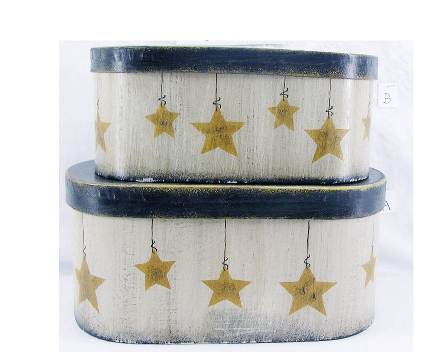 "Birch Maison Decorative Primitive / Farmhouse Oval Nesting Boxes with Dangling Stars, Set of 2, Off-White, Set of 2  - 4"" Tall"