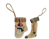 "Birch Maison Decorative Primitive / Farmhouse Fabric Glove ""Snowman"" And Stocking ""Christmas Tree"", Christmas Ornaments, Set of 2 - 3"" Tall"