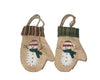 "Birch Maison Decorative Primitive / Farmhouse Fabric Gloves ""Snowman"", Christmas Ornaments, Set of 2 - 4.5"" Tall"