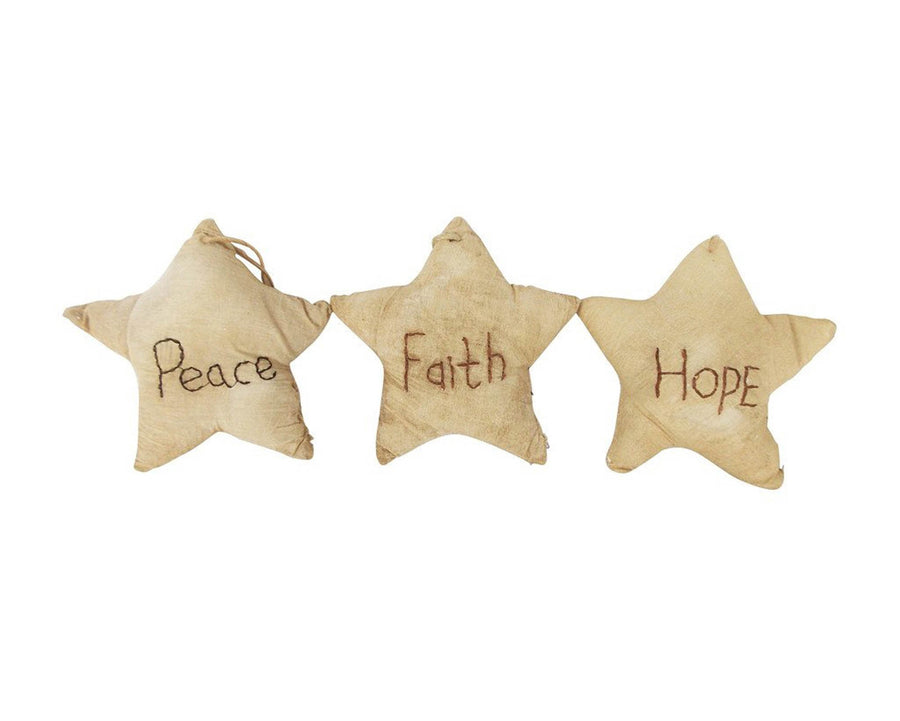 "Birch Maison Decorative Primitive / Farmhouse Fabric Stars ""Peace - Faith - Hope"", Set of 3 - 5"" Tall"