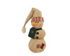 "Birch Maison Decorative Primitive / Farmhouse Fabric Snowman with Green Scarf and Cream Colored Long Hat, Standing - 13"" Tall"