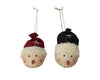 "Birch Maison Decorative Primitive / Farmhouse  Paper Mache Red / Green Snowman Head Christmas Ornaments, Set of 2 - 5"" Tall"