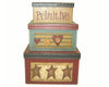 "Birch Maison Decorative Primitive / Farmhouse Square Nesting Boxes - Set of 3 -  8"" H , 7"" H, 6"" H"