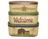 "Birch Maison Decorative Primitive / Farmhouse Oval Nesting Boxes ""Welcome"", Set of 3 - 7.5""H, 6.5""H, 5.5""H"