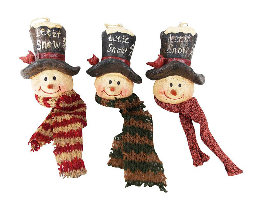 "Birch Maison Decorative Primitive / Farmhouse Paper Mache Snowman Heads with ""Let it Snow"", Hats and Scarfs, Assorted, Set of 3 - 4.5"" Tall"