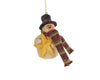 "Birch Maison Decorative Primitive / Farmhouse Paper Mache Snowman with Fabric Scarf and Large Mustard Star, Christmas Ornament - 4"" Tall"