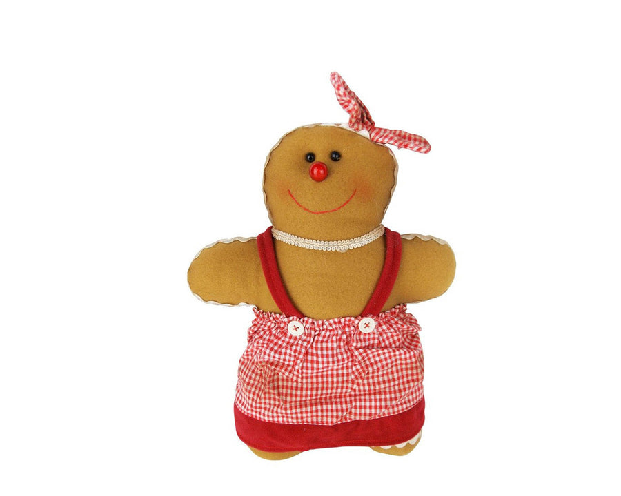 "Birch Maison Decorative Primitive / Farmhouse Gingerbread Woman with Dress and Head Scarf - 12"" Tall"
