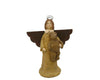 "Birch Maison Decorative Primitive / Farmhouse Paper Mache Angel with Bear, Standing - 8.5"" Tall"