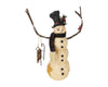 "Birch Maison Decorative Primitive / Farmhouse Paper Mache Snowman with Twig Arms & Sleigh and Fabric Scarf, Standing - 15.25"" Tall"