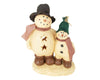 "Birch Maison Decorative Primitive / Farmhouse Paper Mache ""Father Snowman & Son"" with Checkered Fabric Scarfs, Standing - 11.5"" Tall"
