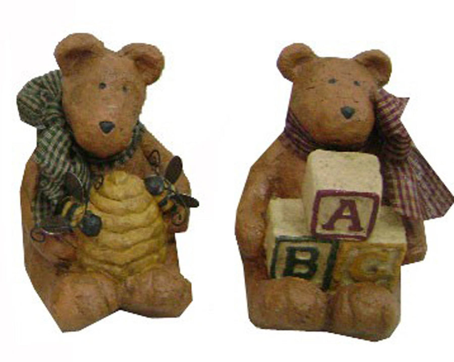 "Birch Maison Decorative Primitive / Farmhouse Sitting Paper Mache Bears, Assorted, Set of 2 - 4.5"" Tall"