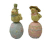 "Birch Maison Decorative Primitive / Farmhouse Paper Mache ""Chicks On Eggs"", Assorted, Set of 2 - 9"" Tall"