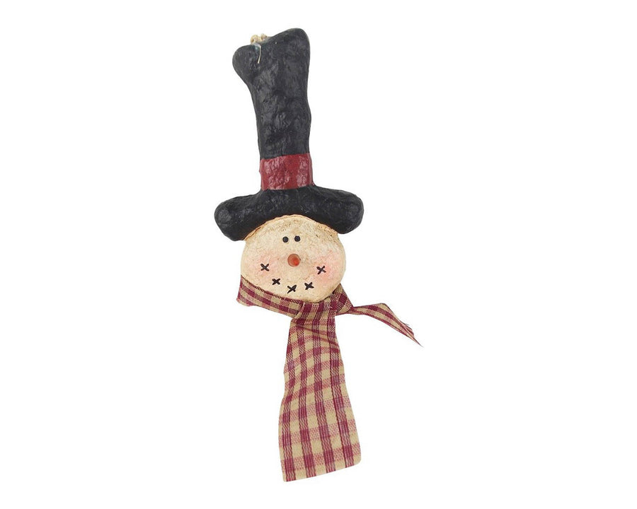 "Birch Maison Decorative Primitive / Farmhouse Paper Mache Snowman with Top Hat and Fabric Scarf, Christmas Ornaments - 5"" Tall"