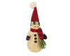 "Birch Maison Decorative Primitive / Farmhouse Paper Mache Snowmen with Fabric Scarf & Hat, Standing - 7"" Tall"