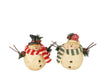"Standing Paper Mache ""Chubby Snowmen"" with Fabric Scarf and Twig Arms, Set of 2"