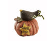 "Birch Maison Decorative Primitive / Farmhouse Paper Mache Pumpkin with Crow on Top - 4.5"" Tall"