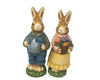 "Birch Maison Decorative Primitive / Farmhouse Paper Mache Antique Garden Rabbit Boy & Girl, Standing, Assorted, Set of 2 - 7.75"" Tall"