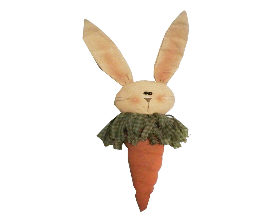 "Birch Maison Decorative Primitive / Farmhouse Hand-Stiched Fabric Bunny Head with Carrot Body, Ornament - 6"" Tall"