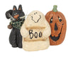 "Birch Maison Decorative Primitive / Farmhouse Paper Mache Ghost with ""Boo"" Sign, Cat with Fabric Scarf and Tin Bell, Jack-O-Lantern Halloween Trio - 6.25"" Tall"